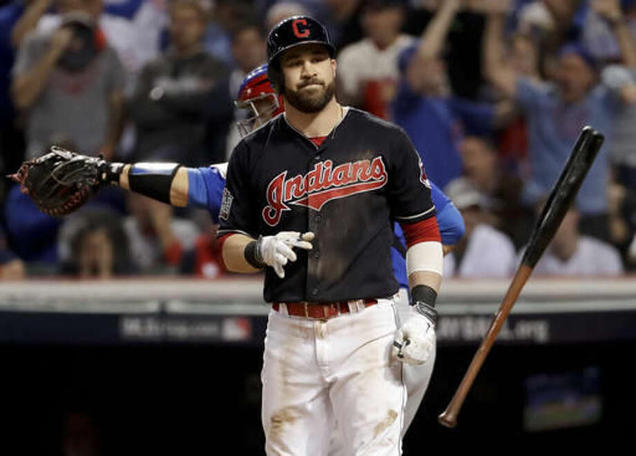 Cleveland Indians Jason Kipnis Tosses His Bat After Striking Out Against The Chicago Cubs During