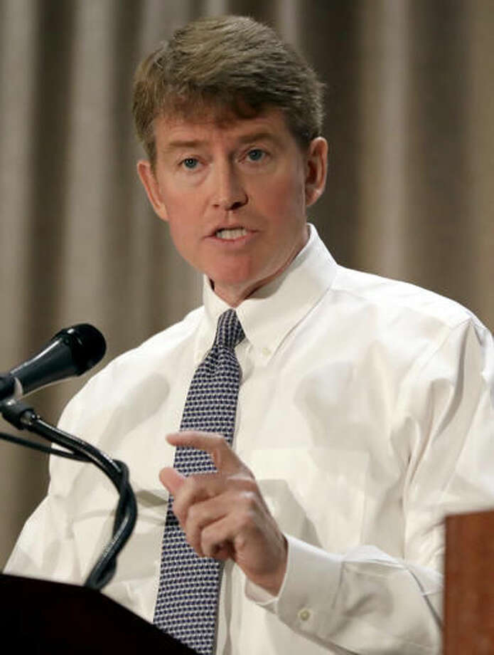 FILE - In this Sept. 30, 2016, file photo, Democratic gubernatorial candidate Chris Koster speaks during the first general election debate in the race for Missouri governor at the Missouri Press Association convention in Branson, Mo. (AP Photo/Jeff Roberson, File)