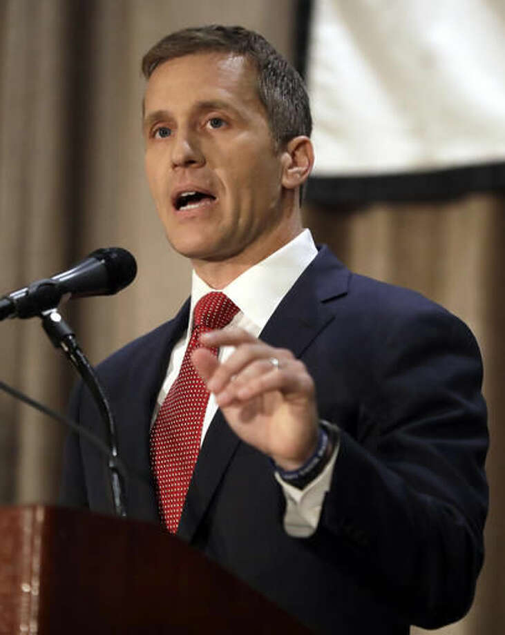 FILE - In this Sept. 30, 2016 file photo, Republican gubernatorial candidate Eric Greitens speaks during the first general election debate in the race for Missouri governor at the Missouri Press Association convention in Branson, Mo. (AP Photo/Jeff Roberson, File)