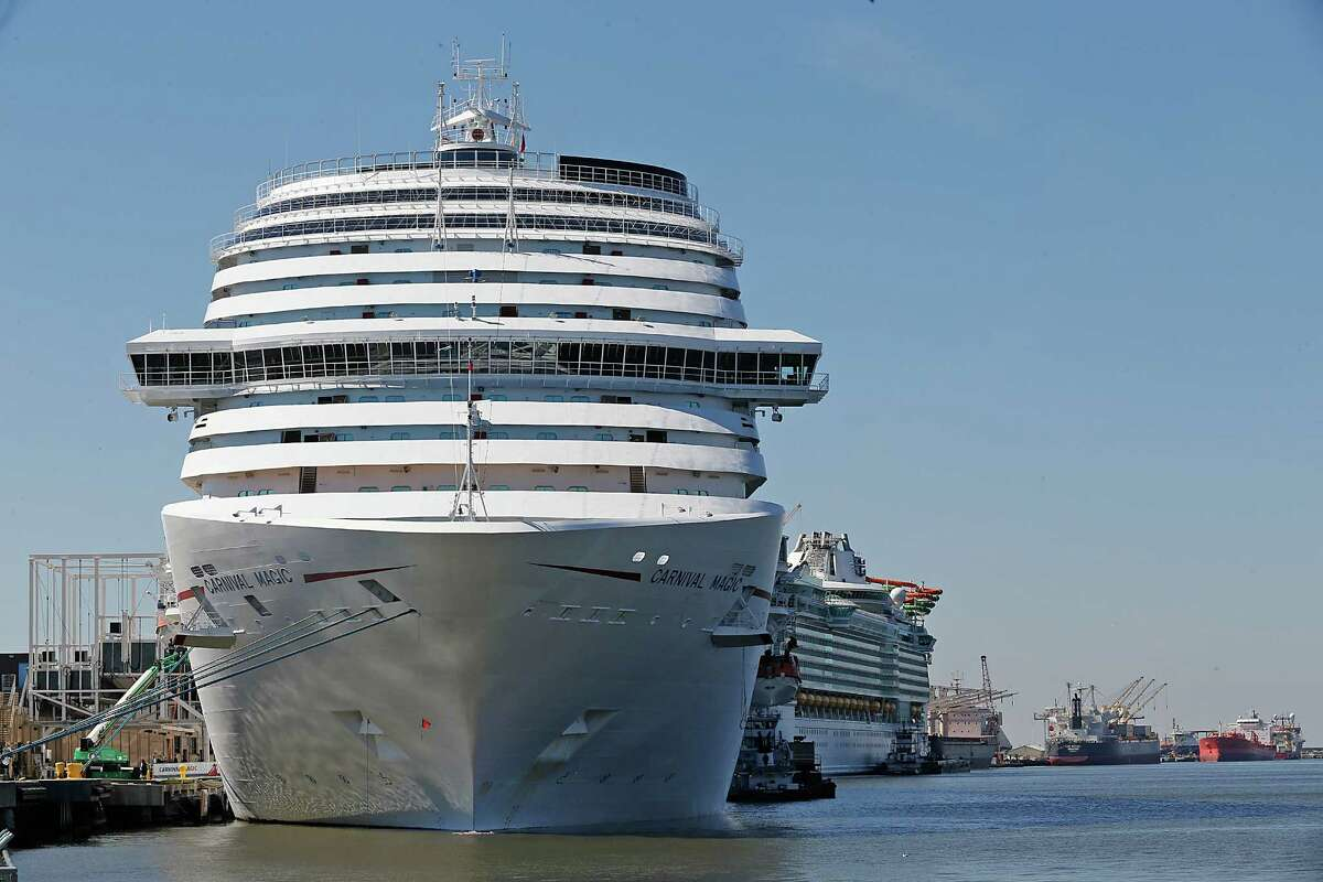 From left to right Carnival's Magic and the Royal Caribbean's Liberty of the Seas cruise ship sit in port. >>What a typical day on the Houston Ship Channel looks like
