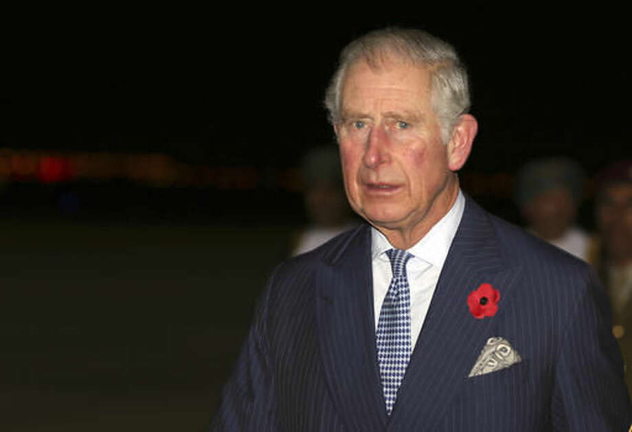 Britain's Prince Charles arrives in Muscat with Camilla, Duchess of Cornwall, not in the picture, for their three Gulf countries visit, in Muscat, Oman, Friday, Nov. 4, 2016. (AP Photo/Kamran Jebreili)