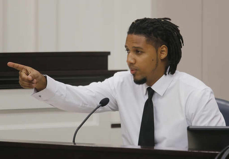 Feiden Santana, who made the cell video showing former North Charleston Police Officer Michael Slager's fatal encounter with Walter Scott, testifies in Slager's murder trial, Friday, Nov. 4, 2016, in Charleston, S.C. Slager is on trial facing a murder charge in the shooting death of Walter Scott, who was gunned down after he fled from a traffic stop. (Grace Beahm/Post and Courier via AP, Pool)