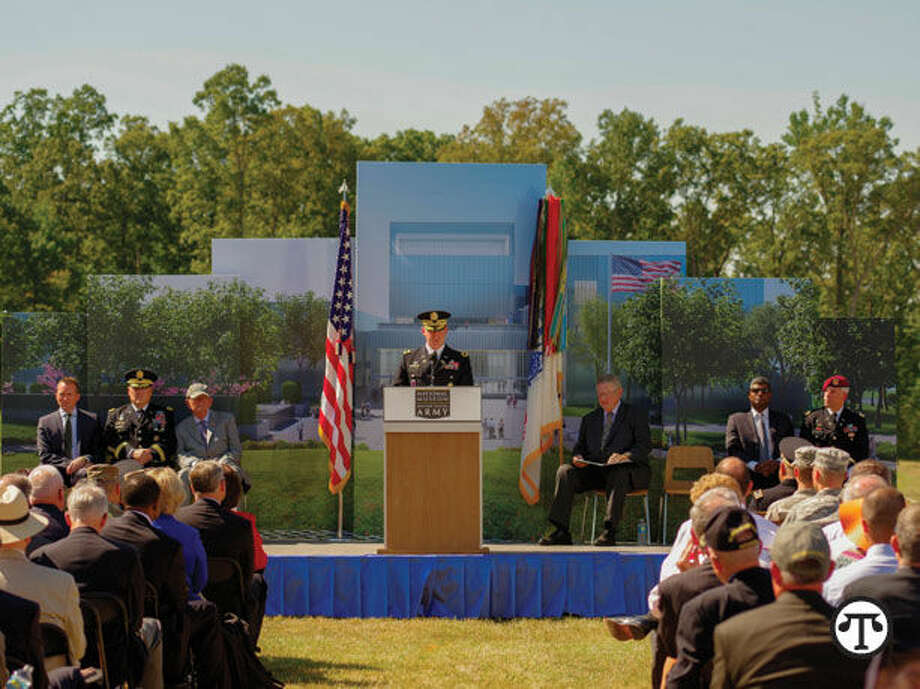 "BG Charles N. Pede, Assistant Judge Advocate, Military and Law Operations, Headquarters U.S. Army, Office of the Judge Advocate, speaking about his uncle, SSG Donald ""Dutch"" Hoffman, at the groundbreaking ceremony for the National Museum of the United States Army. (NAPS)"