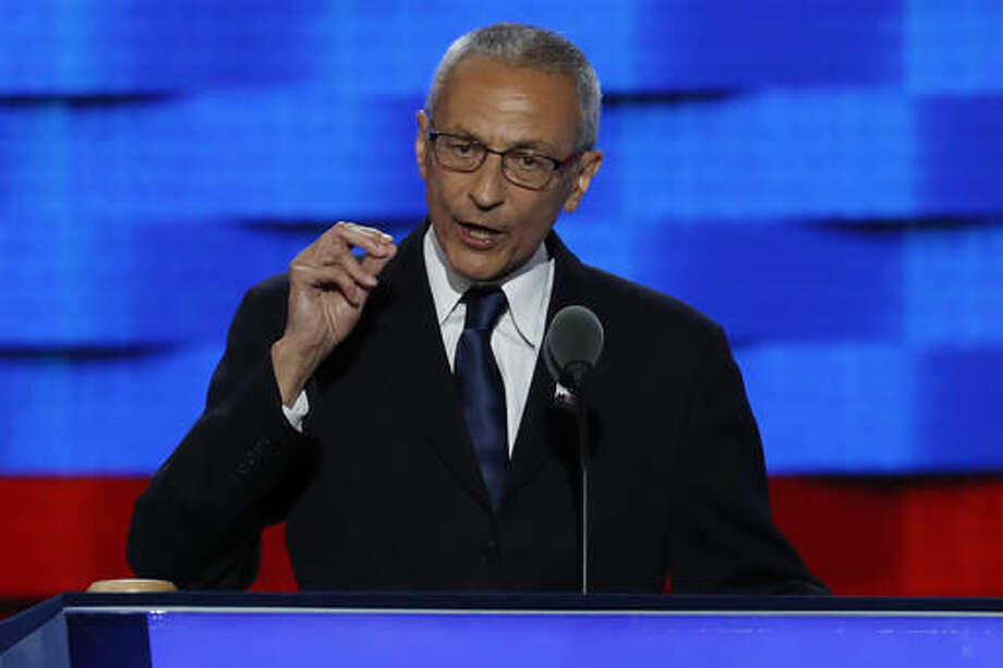 "FILE - In this July 25, 2016, file photo, John Podesta, Clinton Campaign Chairman, speaks during the first day of the Democratic National Convention in Philadelphia. Podesta, a top adviser to Hillary Clinton, on Tuesday, Oct. 11, accused Roger Stone, a longtime Donald Trump aide, of receiving ""advance warning"" about WikiLeaks' plans to publish thousands of hacked emails and suggested the Republican candidate is aiding the unprecedented Russian interference in American politics. (AP Photo/J. Scott Applewhite, File)"