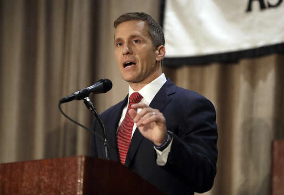 FILE - In this Sept. 30, 2016 file photo, Republican gubernatorial candidate Eric Greitens speaks during the first general election debate in the race for Missouri governor at the Missouri Press Association convention in Branson, Mo. Greitens is getting financing for his Missouri gubernatorial campaign from many of the same people who have supported a charity he founded for military veterans. But Greitens denies that he has used a donor list for The Mission Continues to solicit money for his governor's race against Democratic Attorney General Chris Koster. (AP Photo/Jeff Roberson, File)