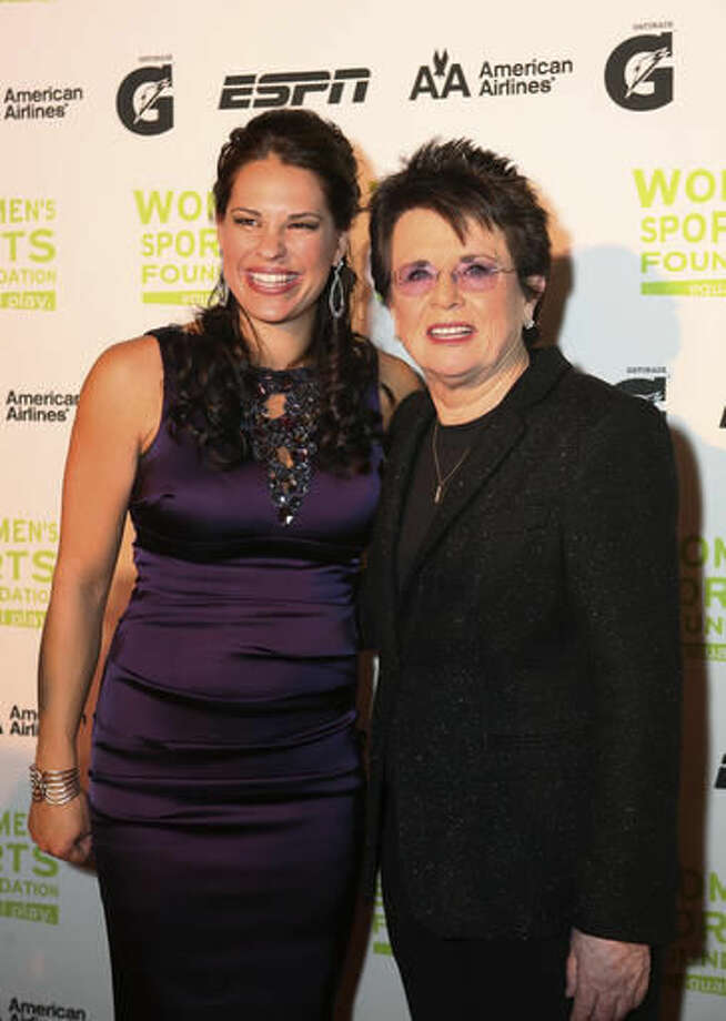 """In this Oct. 13, 2009, photo, sports analyst and former softball player Jessica Mendoza stands with Billie Jean King at the Women's Sports Foundation's 30th annual Salute To Women In Sports awards in New York. Mendoza recently shuttled between Cleveland and Chicago for the World Series, giving updates eight times a day for """"Baseball Tonight"""" and """"Sports Center."""" She shared the booth this season on """"Sunday Night Baseball"""" with Dan Shulman and Aaron Boone, a former player who moved up from Monday night games. Mendoza appreciates the talents of tennis broadcaster Mary Carillo and NBA analyst Doris Burke and enjoys lunches with barrier-breaker Billie Jean King. (Joselyn Diaz/Women's Sports Foundation via AP)"""
