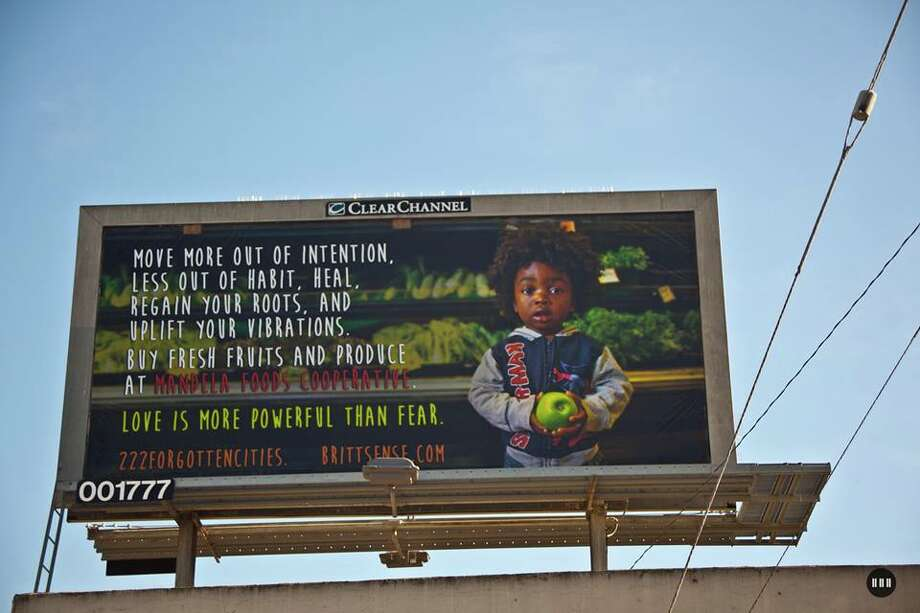 One of the billboards at 77th and International, partnering with Mandela Foods Cooperative. Photo: Brittani Sensabaugh/Courtesy