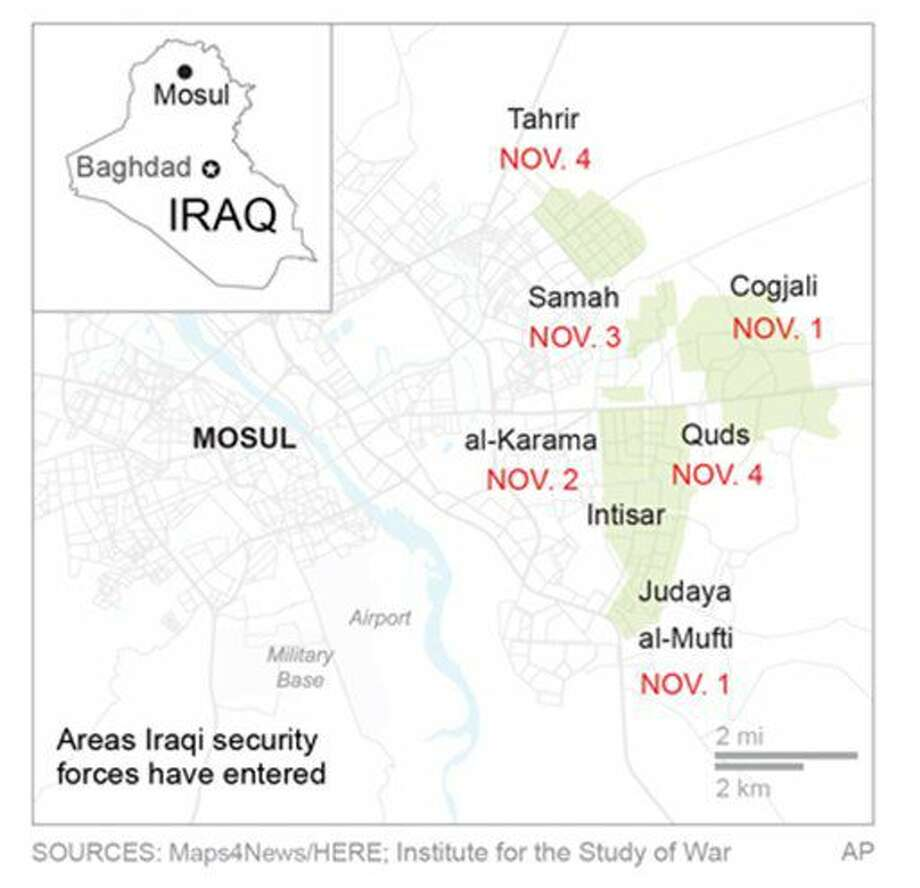 Map shows military advance into Mosul, Iraq.; 2c x 4 inches; 96.3 mm x 101 mm;