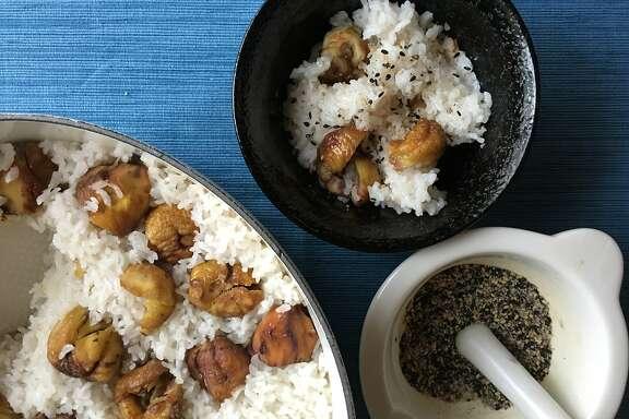 Chestnut rice (kuri gohan) with sesame salt (gomashio).