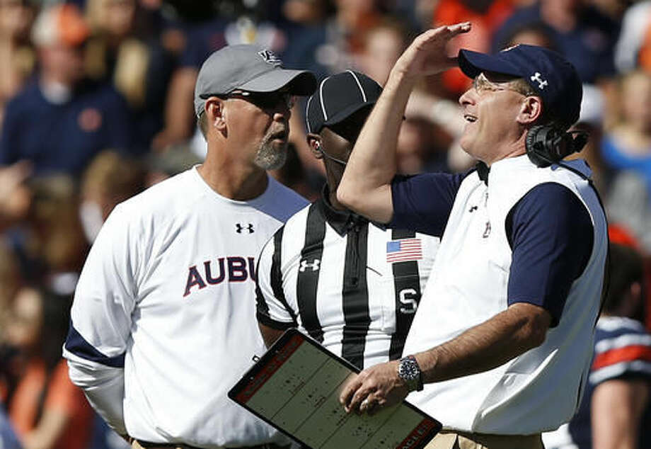 Auburn head coach Gus Malzahn reacts after Auburn linebacker Deshaun Davis is ejected from the game after a targeting call during the first half of an NCAA college football game against Vanderbilt, Saturday, Nov. 5, 2016, in Auburn, Ala. (AP Photo/Brynn Anderson)