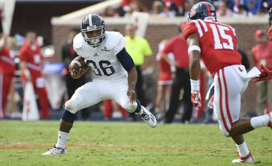 Georgia Southern running back Matt Breida (36) looks for room to run during the second half of an NCAA college football game against Mississippi in Oxford, Miss., Saturday, Nov. 5, 2016. Mississippi won 37-27. (AP Photo/Thomas Graning)