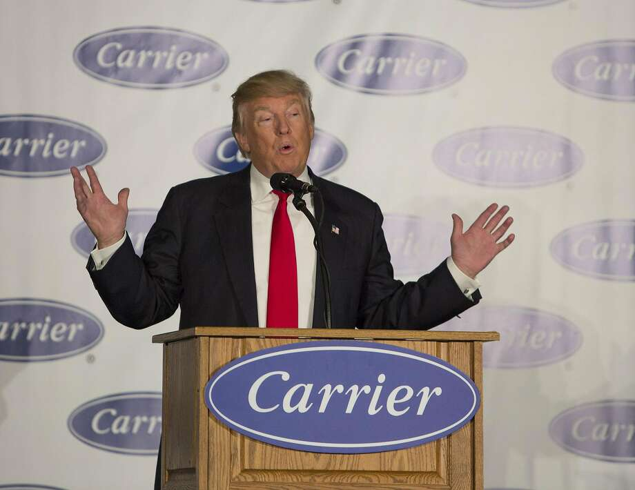 President-elect Donald Trump toured the  Indiana Carrier factory. Trump announced a deal struck with Carrier executives to keep nearly 1,000 jobs in the U.S. in his first public appearance since his election on December 1, 2016 in Indianapolis, Indiana. (Lora Olive/Zuma Press/TNS) Photo: Lora Olive, ZUMAPRESS.COM/TNS