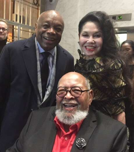Willie Brown, Cecil Williams and Janice Mirikitani at Glide Holiday Jam Photo: Leah Garchik, San Francisco Chronicle