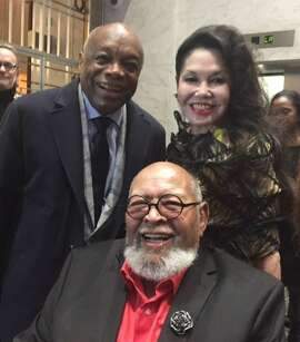 Willie Brown, Cecil Williams and Janice Mirikitani at Glide Holiday Jam