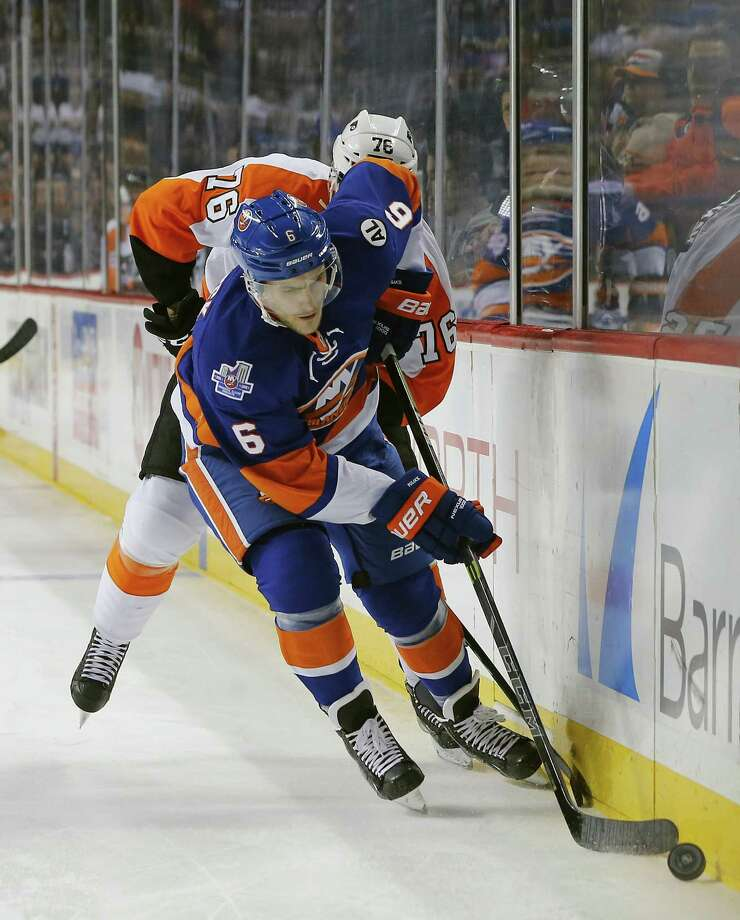 The Islanders sent defenseman Ryan Pulock to Bridgeport as he recovers from a broken foot. Photo: Rich Schultz / Associated Press / FR27227 AP