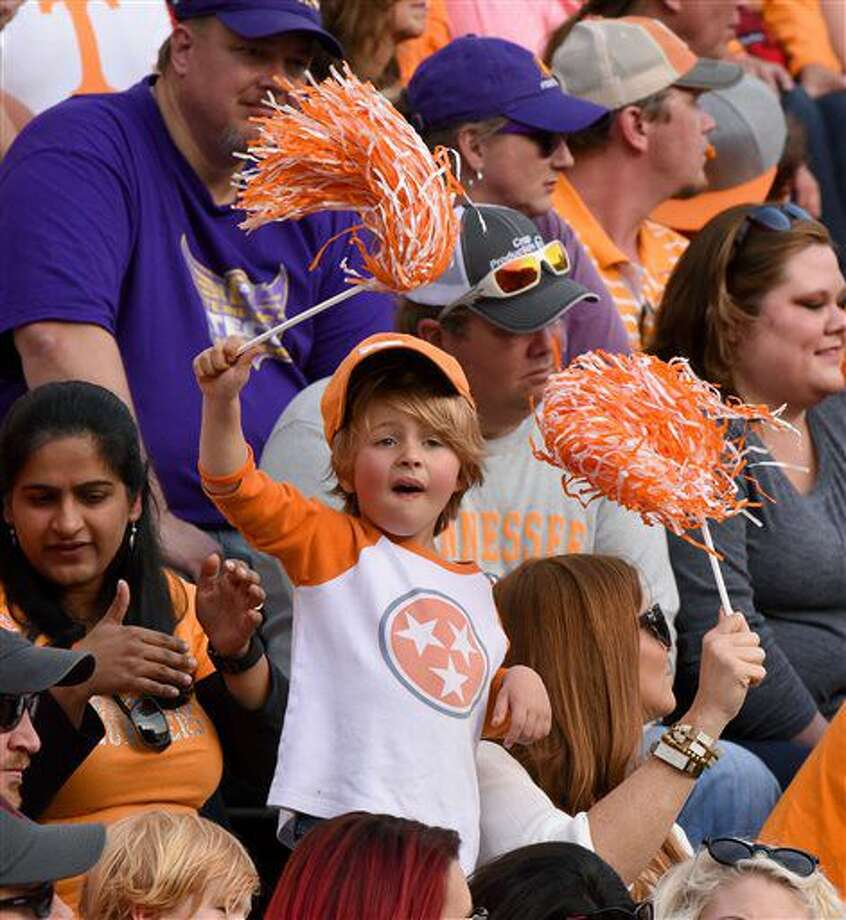 Tennessee fans cheer on the Vols against Tennessee Tech during the first half of an NCAA college football game Saturday, Nov. 5, 2016, in Knoxville, Tenn. (Michael Patrick/Knoxville News Sentinel via AP)
