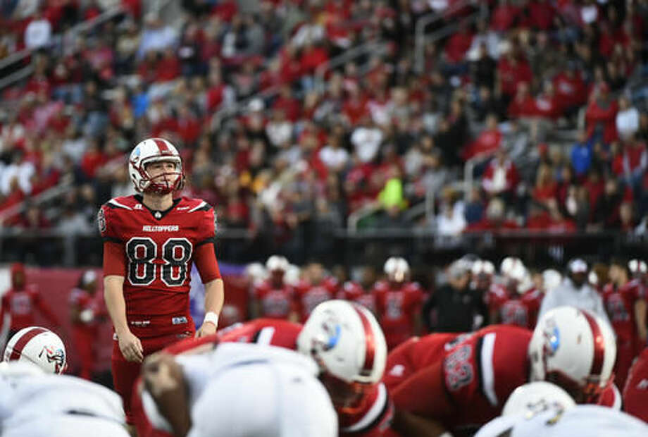 Western Kentucky place kicker Skyler Simcox (88) takes a moment before a field goal attempt against Florida International in an NCAA college football game, Saturday, Nov. 5, 2016, in Bowling Green, Ky. (AP Photo/Michael Noble Jr.)