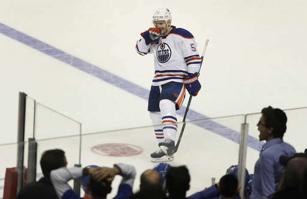 Edmonton Oilers center Mark Letestu (55) reacts after scoring the winning goal against the New York Islanders during a shootout of an NHL hockey game, Saturday, Nov. 5, 2016, in New York. The Oilers won 4-3. (AP Photo/Julie Jacobson)