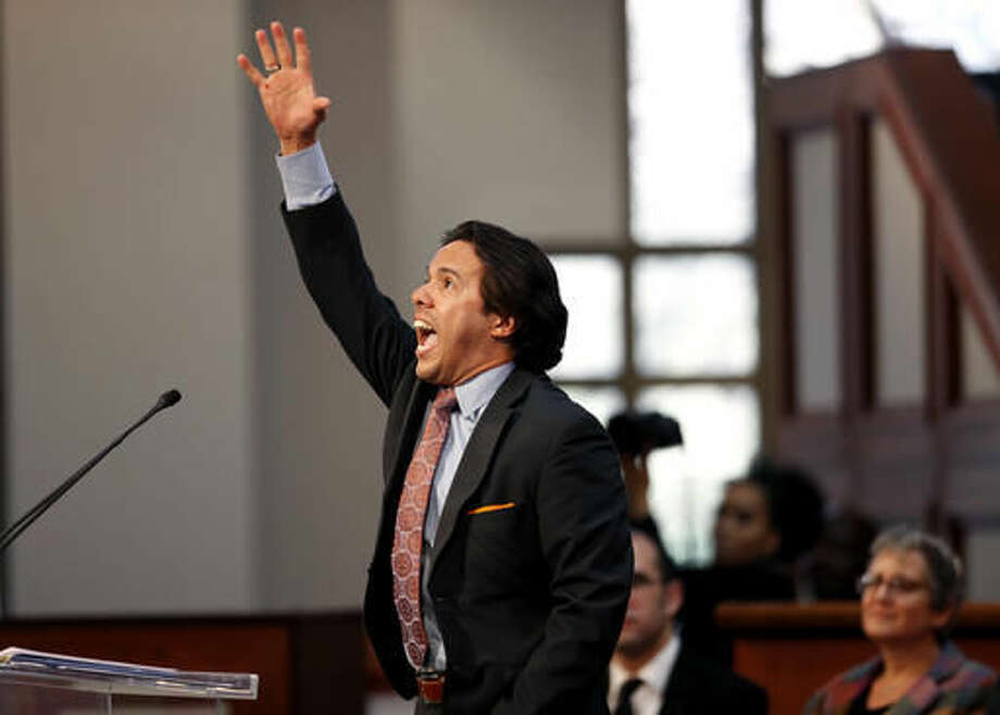 """FILE - In this Monday, Jan. 21, 2013 file photo, Rev. Samuel Rodriguez, president of the National Hispanic Christian Leadership Conference, speaks during the annual Dr. Martin Luther King Jr. holiday commemorative service at the Ebenezer Baptist Church in Atlanta - the first time a Latino leader has served as the keynote speaker for the event. Rodriguez, president of the evangelical group that counts 40,000 churches as members, says, """"We are not the same community as the 1980s. We are not the same community as the 1990s. Evangelicalism is no longer exclusively led by white males who are 60, 70 years old."""" He has not made an endorsement in the presidential race. (AP Photo/David Goldman)"""