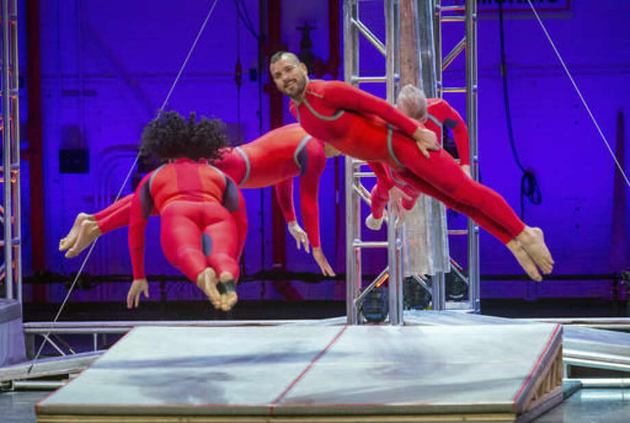 This Sept. 26, 2016 photo released by New York City Center shows STREB Extreme Action performing at Fall for Dance Opening Night at City Center in New York. The troupe performs high-flying, injury-defying feats that often include dancers slamming their bodies into the floor, in unison, from nauseating heights. (Stephanie Berger/New York City Center via AP)