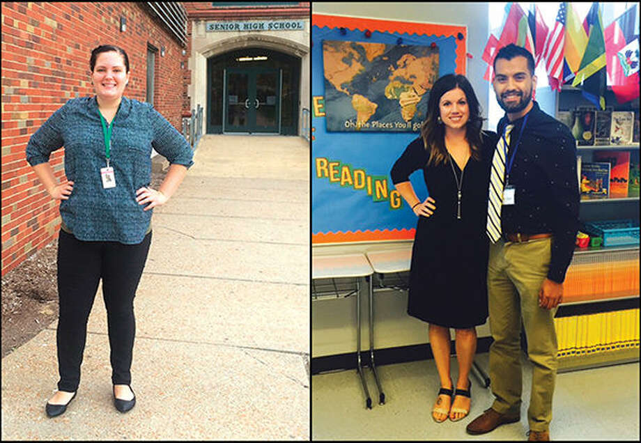 First photo: Samantha Kinnear poses outside her school in St. Louis. Second photo: Crystal Frizzell Heimback poses with fellow Teach for America corps member Diego Zecena, at their school in Brooklyn, New York.