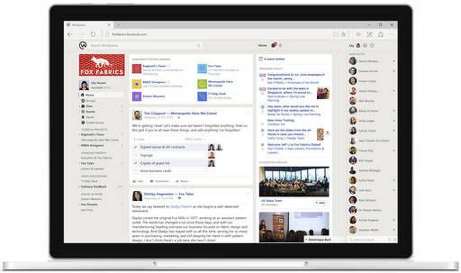 This image provided by Facebook shows a demonstration of Facebook's Workplace on a desktop. Facebook is launching a communications tool Monday, Oct. 10, 2016, for businesses, nonprofits and other organizations. Called Workplace, the platform is ad-free and isn't connected to existing Facebook accounts. Instead, employers sign up as an organization. Businesses have to pay, but Facebook is offering it to schools and nonprofits for free. (Facebook via AP)