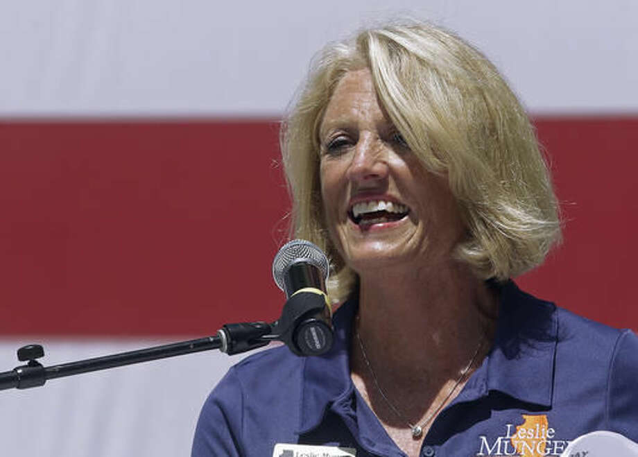 FILE - This Aug. 17, 2016, file photo shows, Republican Illinois state Comptroller Leslie Munger in Springfield, Ill. (AP Photo/Seth Perlman, File)