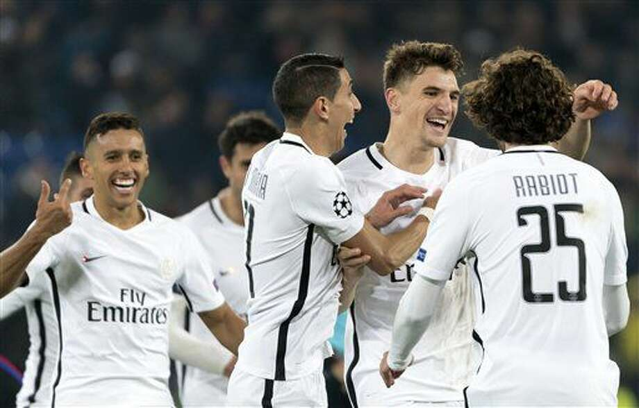 Paris Saint-Germain players celebrate scoring during the Champions League group A soccer match between FC Basel and Paris Saint-Germain at the St. Jakob-Park stadium in Basel, Switzerland, Tuesday Nov. 1, 2016. (Georgios Kefalas/Keystone via AP)
