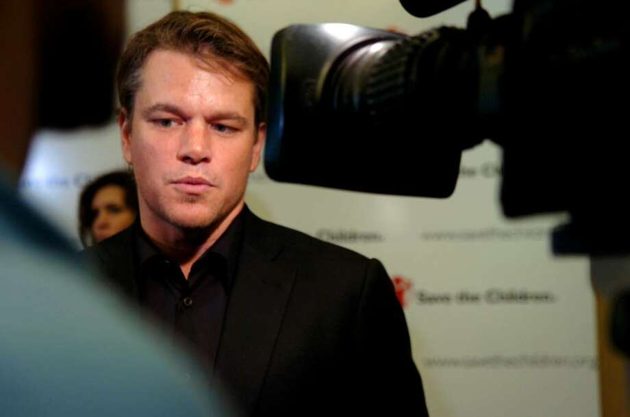 Matt Damon speaking with reporters at the Save the Children's Celebration of Hope benefit at Hyatt Regency Greenwich, on Thursday, May 20, 2010. Photo: Helen Neafsey / Greenwich Time