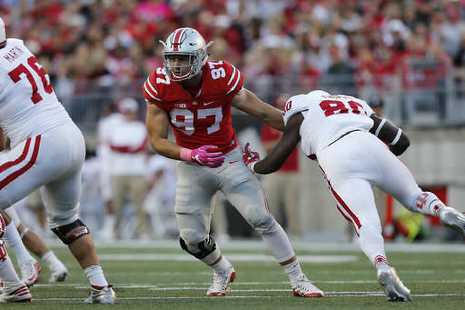 FILE - In this Oct. 8, 2016, file photo, Ohio State defensive end Nick Bosa plays against Indiana during an NCAA college football game, in Columbus, Ohio. Meyer called out eight defensive players as earning the highest grades against Indiana, which was held to just 99 yards on the ground. (AP Photo/Jay LaPrete, File)