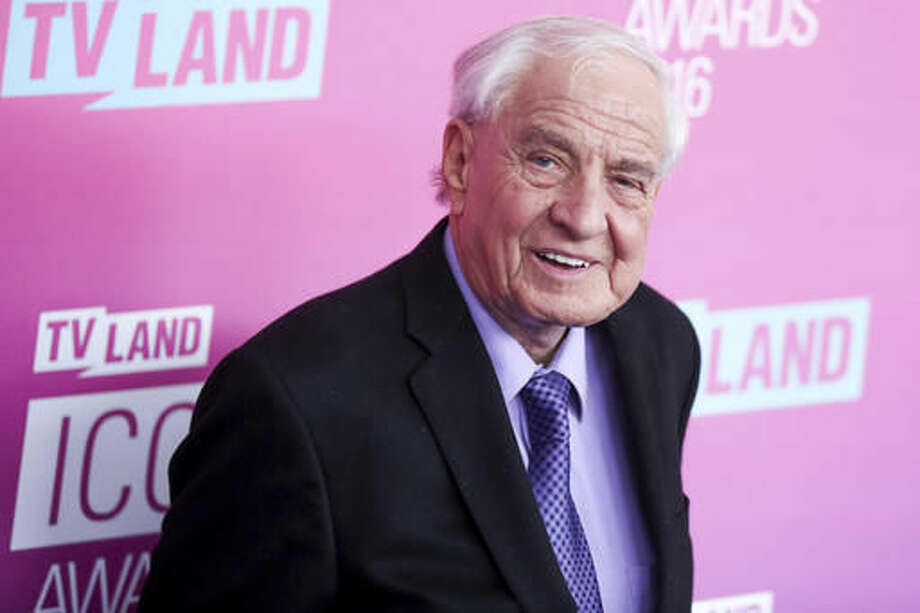 "FILE - In this April 10, 2016 file photo, Garry Marshall arrives at the 2016 TV Land Icon Awards at Barker Hangar in Santa Monica, Calif. The Hollywood reporter says CBS' ""The Odd Couple"" will pay a star-studded tribute to Marshall on its Nov. 7, 2016, episode. (Photo by Rich Fury/Invision/AP, File)"