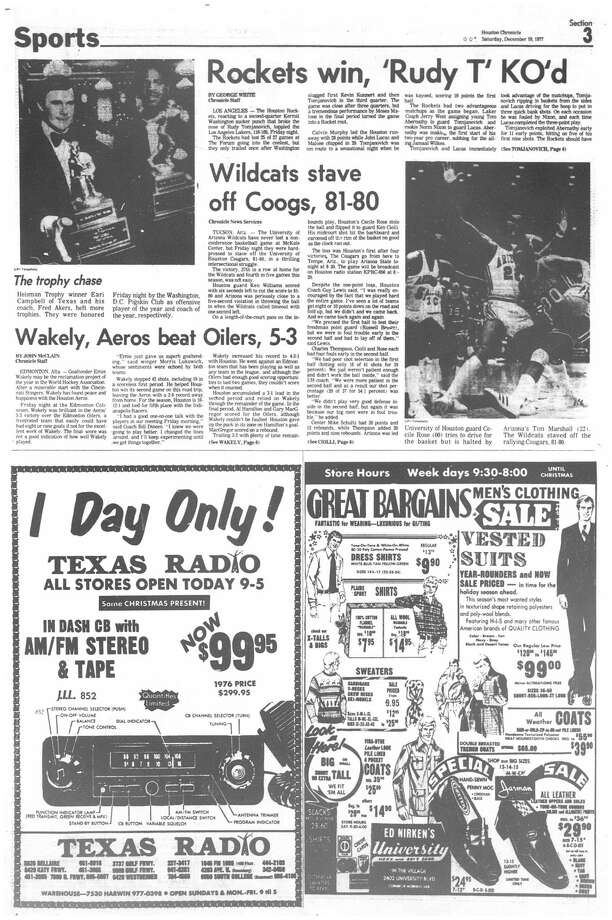 Houston Chronicle: December 10, 1977 - section 3, page 1. Rockets win, 'Rudy T' KO'd Photo: HC Staff / Houston Chronicle