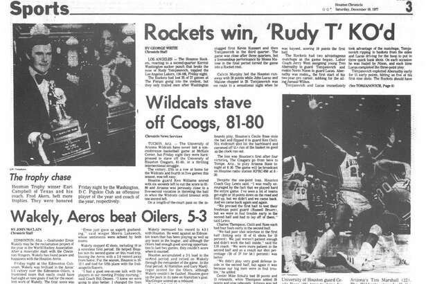 Houston Chronicle inside page (HISTORIC) – December 10, 1977 - section 3, page 1. Rockets win, 'Rudy T' KO'd