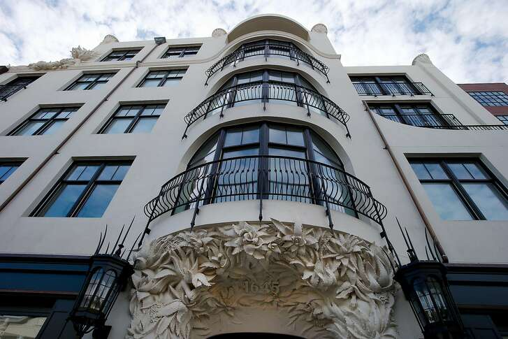 A view of the floors above the entrance on Pacific Avenue Monday January 12, 2015. A new residential building at 1645 Pacific Avenue in San Francisco, Calif.  is decorated with fanciful moldings and surface decoration in contrast to the modern dwellings nearby.