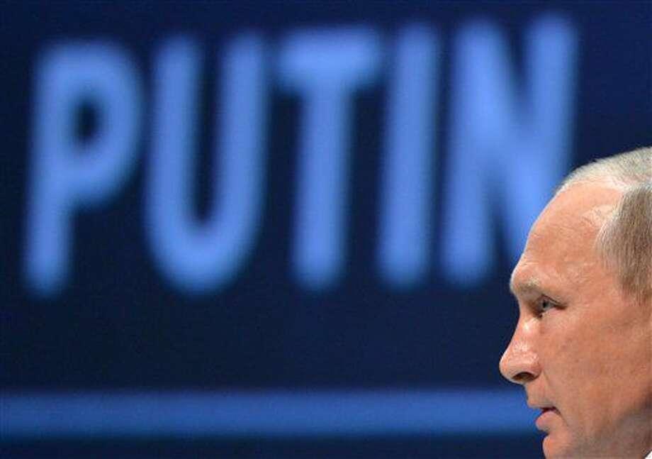 Russian President Vladimir Putin delivers a speech at the 2016 World Energy Congress, in Istanbul. Photo: Alexei Druzhinin, Sputnik,  Kremlin Pool Photo,  Via AP