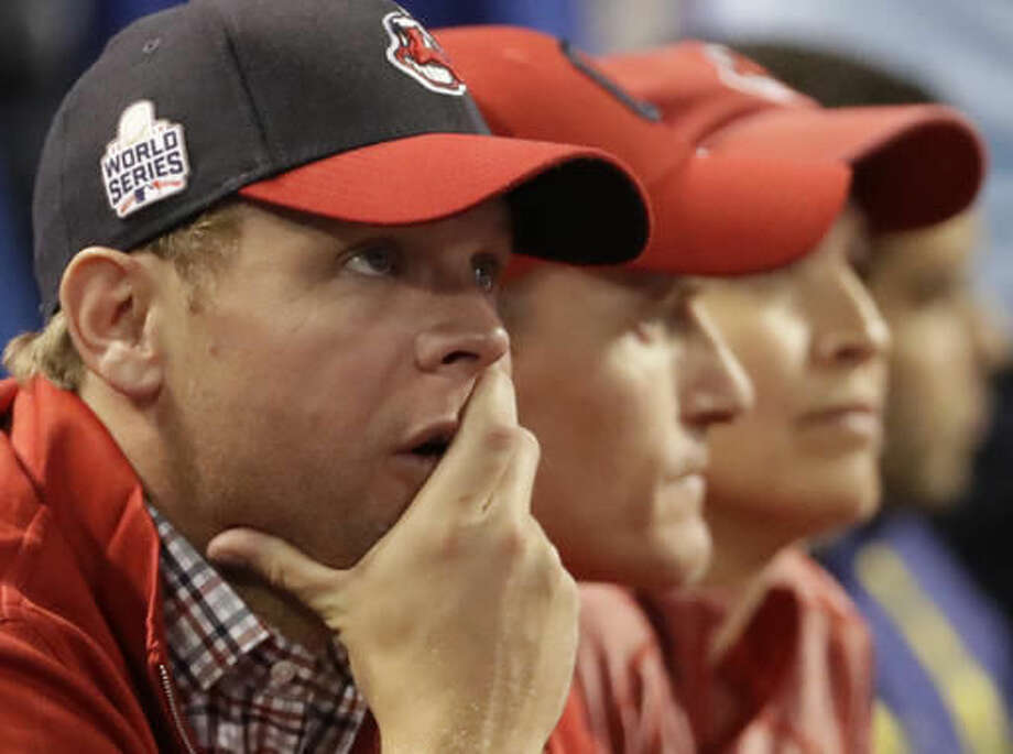 Cleveland Indians fans watch during the ninth inning of Game 6 of the Major League Baseball World Series against the Chicago Cubs Tuesday, Nov. 1, 2016, in Cleveland. (AP Photo/David J. Phillip)