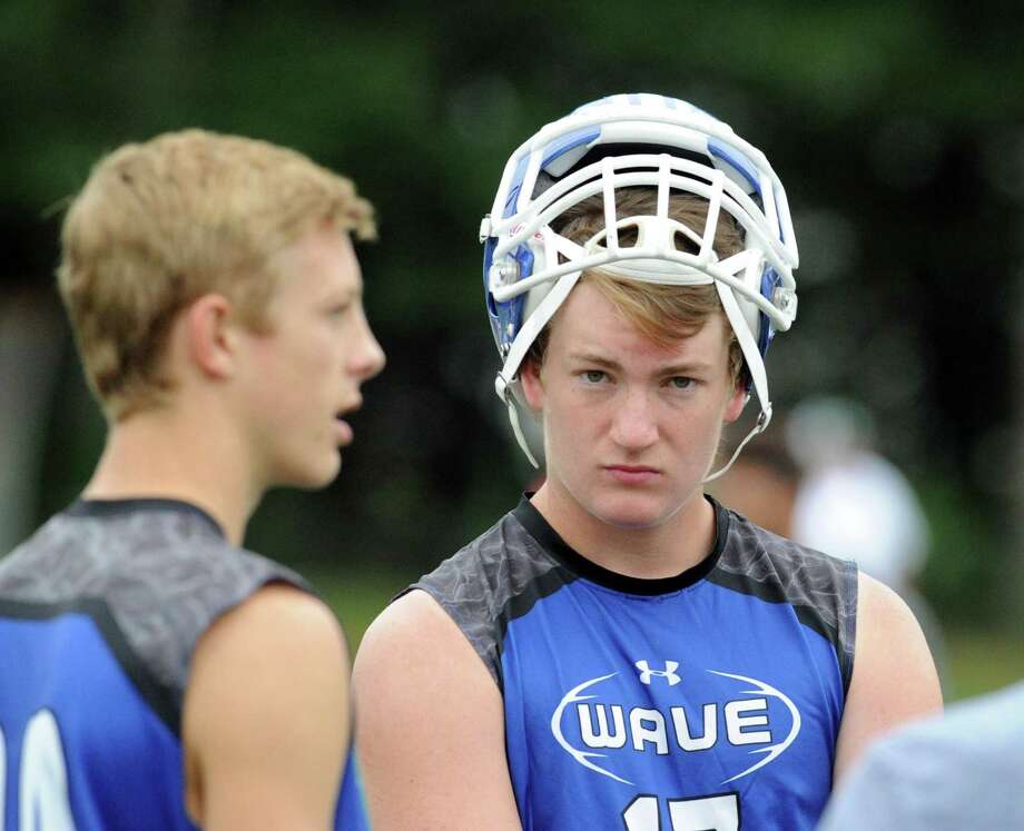 Darien High School quarterback Brian Peters during the annual Grip It & Rip It 7-on-7 football tournament at New Canaan High School, Conn., Saturday, July 9, 2016. Photo: Bob Luckey Jr. / Hearst Connecticut Media / Greenwich Time