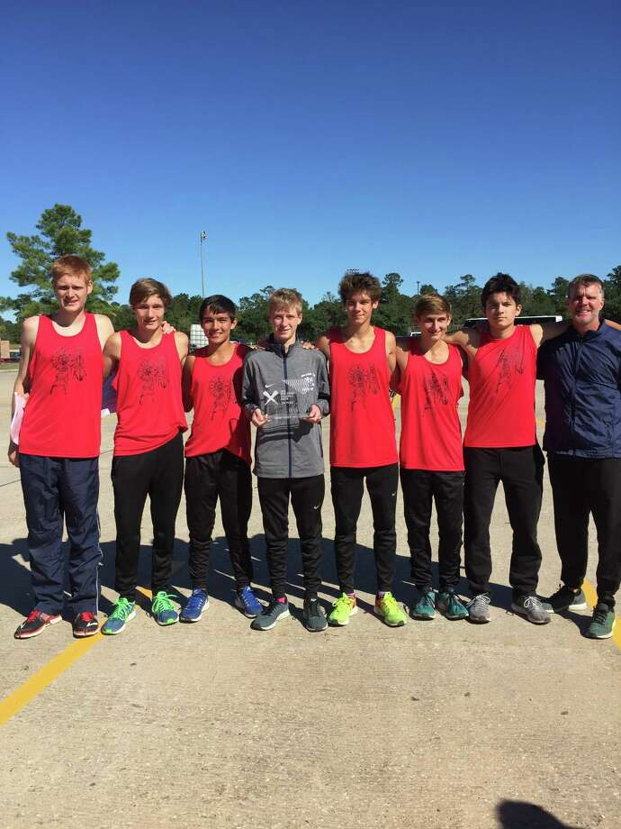 Shown here are members of the College Park Cross Country Club team that took second place at the Nike Cross South Meet at Bear Branch Park in November. From left is Rob Kraus, Brad Pease, Byrron Rowell, Bryce Quigley, Alessandro Topini, Brian Swartley and coach Mike Gibson. Photo: Photo Provided
