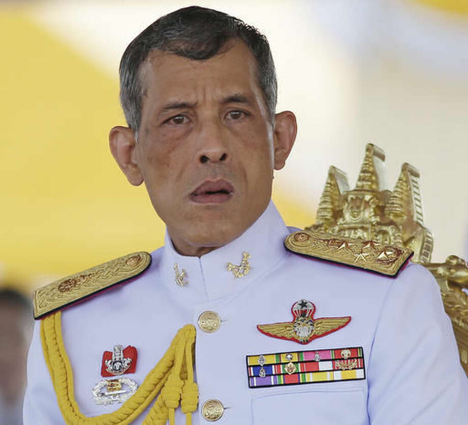 In this May 9, 2016, photo,Thailand's Crown Prince Vajiralongkorn is seated at the royal plowing ceremony in Bangkok. Thailand's Royal Palace said on Thursday, Oct. 13, 2016, that Thailand's King Bhumibol Adulyadej, the world's longest reigning monarch, has died at age 88. (AP Photo/Sakchai Lalit)