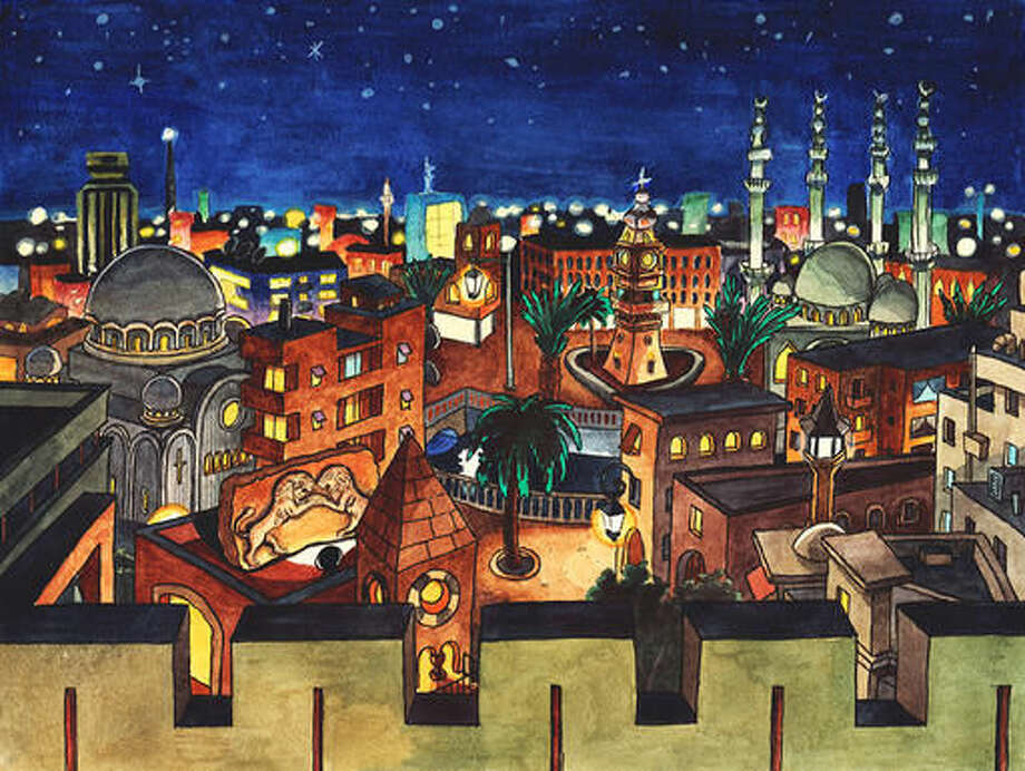 The image 'Aleppo Night' provided by Jan Egesborg on Thursday Oct. 13, 2016 is part of a 'poetic' protest to draw attention to the ongoing violence in the Syrian city of Aleppo. The Surrend group has painted two serene scenes of Aleppo in the past, which it's sharing over social media and encouraging people to download and share themselves. (Jan Egesborg and Johannes Tows via AP)