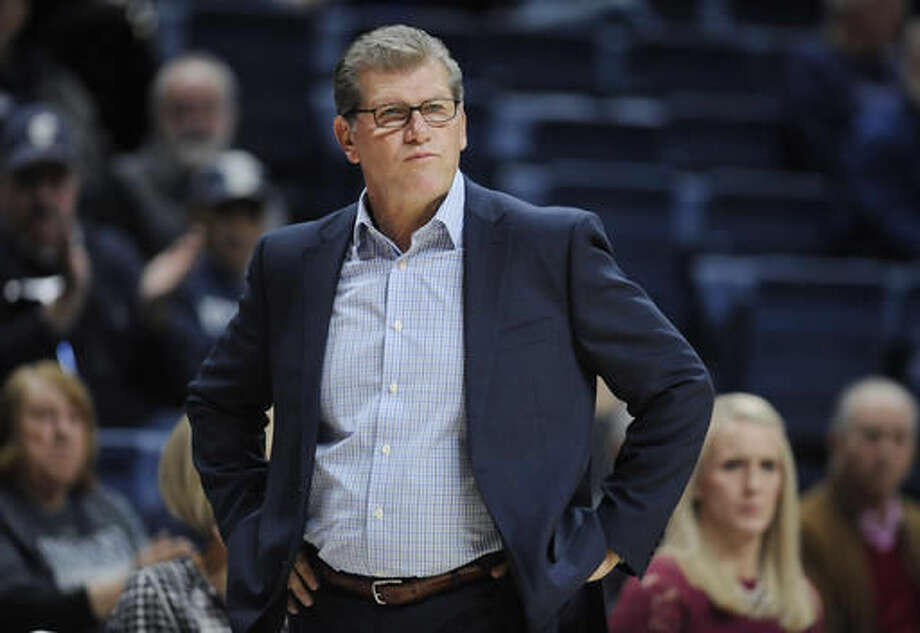 In this Tuesday, Nov. 1, 2016 photo, Connecticut head coach Geno Auriemma watches play during an NCAA college basketball exhibition game against Indiana University of Pennsylvania in Storrs, Conn. UConn enters the season on a 75-game winning streak, but is ranked third behind Notre Dame and Baylor in first AP poll. (AP Photo/Jessica Hill)