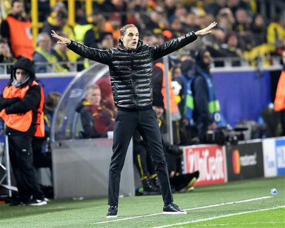 Dortmund's head coach Thomas Tuchel gestures during the Champions League group F soccer match between Borussia Dortmund and Sporting CP in Dortmund, Germany, Wednesday, Nov. 2, 2016. (AP Photo/Martin Meissner)
