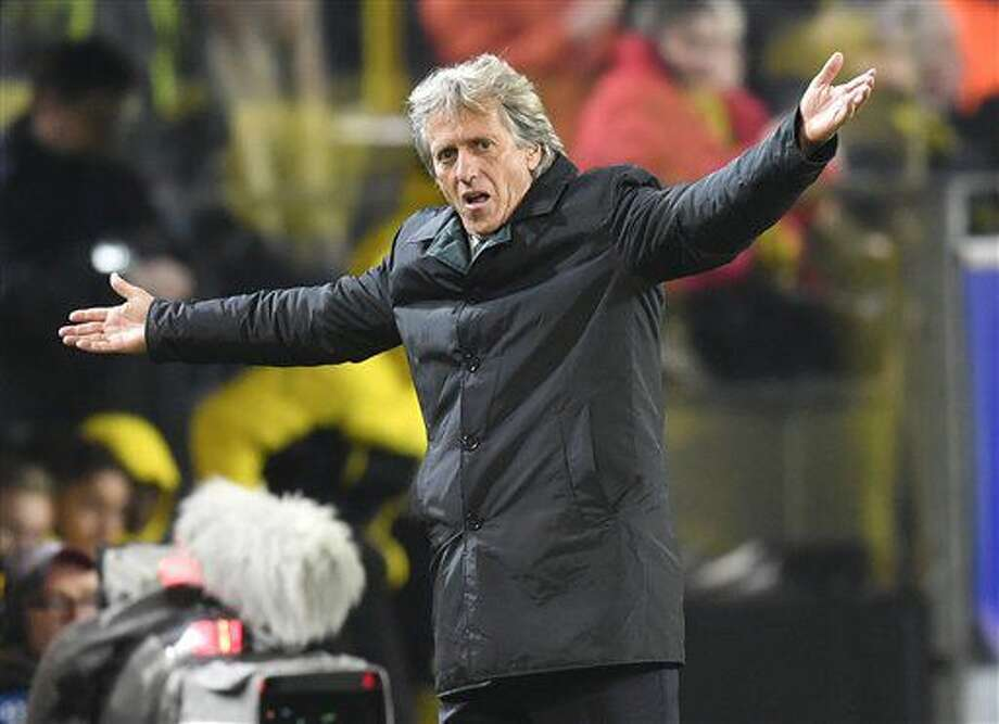 Sporting's head coach Jorge Jesus gestures during the Champions League group F soccer match between Borussia Dortmund and Sporting CP in Dortmund, Germany, Wednesday, Nov. 2, 2016. (AP Photo/Martin Meissner)