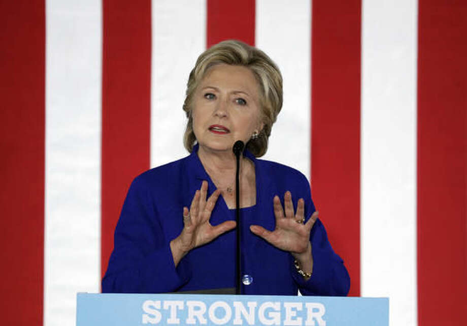 Democratic presidential candidate Hillary Clinton speaks at a rally Wednesday, Nov. 2, 2016, in Las Vegas. (AP Photo/John Locher)