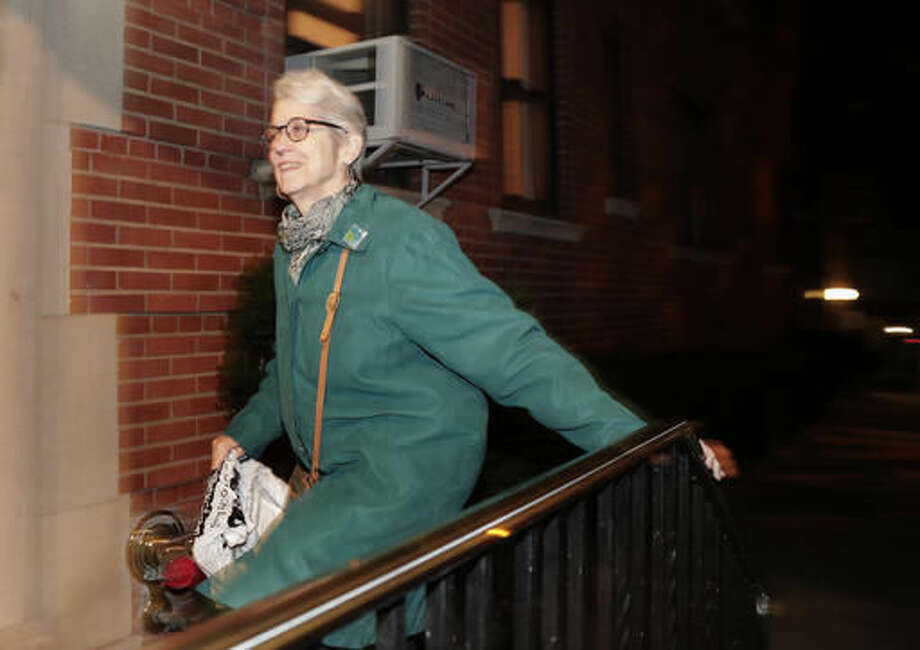 Jessica Leeds arrives at her apartment building, Wednesday, Oct. 12, 2016, in New York. Leeds was one of two women who told the New York Times that Republican presidential candidate Donald Trump touched her inappropriately. (AP Photo/Julie Jacobson)