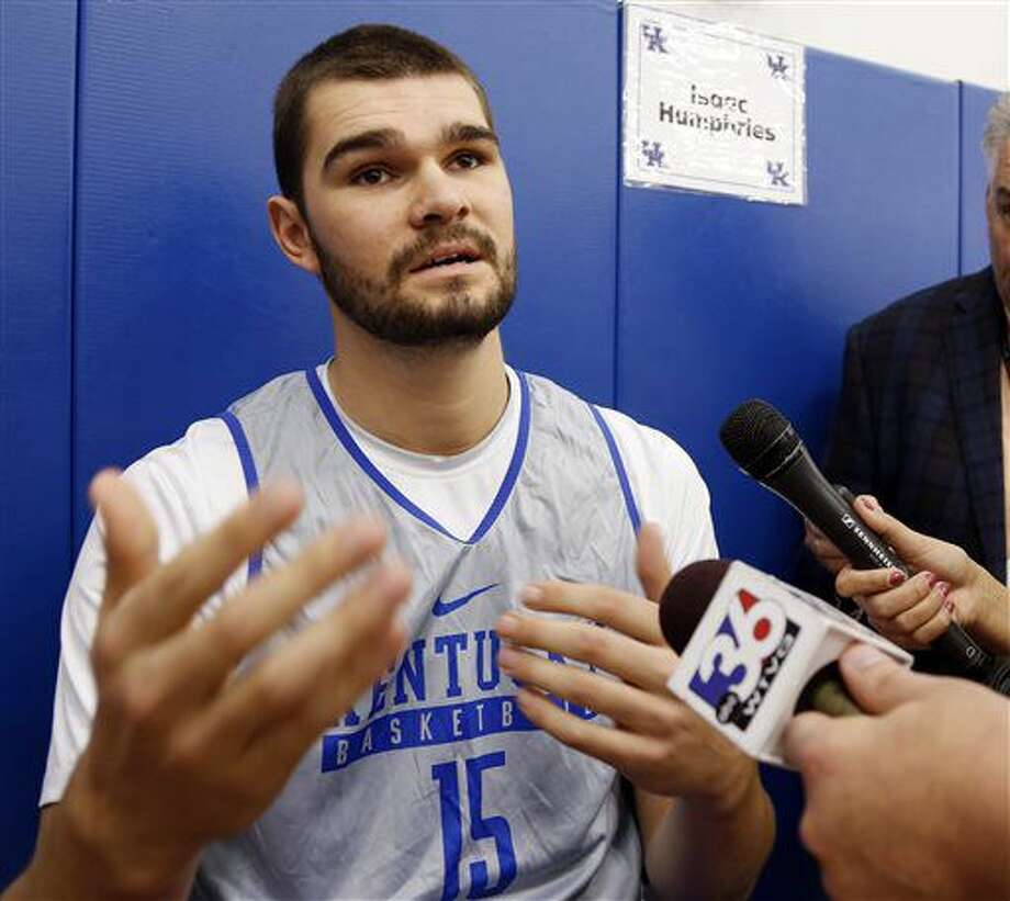Kentucky's Isaac Humphries speaks to the media during Media Day on campus Thursday, Oct. 13, 2016, in Lexington, Ky. (AP Photo/James Crisp)