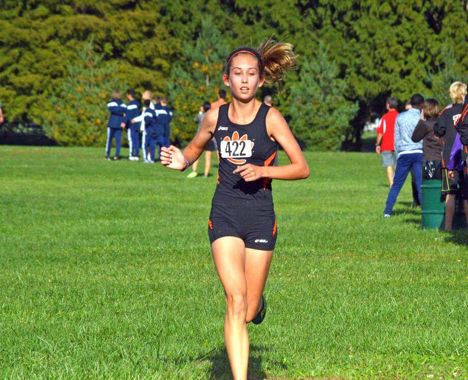 Edwardsville sophomore Jaycie Hudson runs in the girls' race.