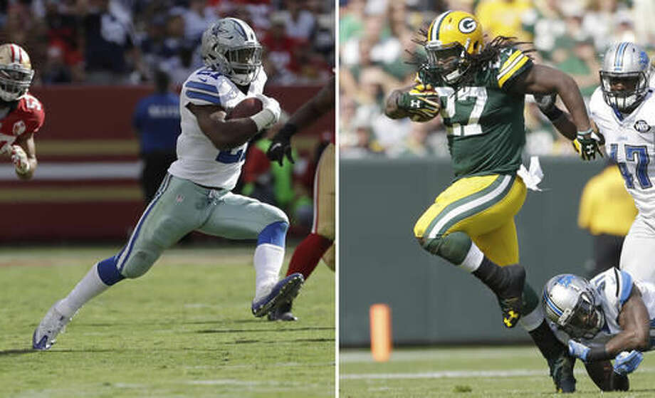 FILE - In this Oct. 2, 2016, file photo, Dallas Cowboys running back Ezekiel Elliott (21) runs against the San Francisco 49ers during the second half of an NFL football game in Santa Clara, Calif. At right, in a Sept. 25, 2016, file photo, Green Bay Packers' Eddie Lacy runs during the first half of an NFL football game against the Detroit Lions, in Green Bay, Wis. The Packers (3-1) and Cowboys (4-1) play on Sunday. (AP Photo/File)