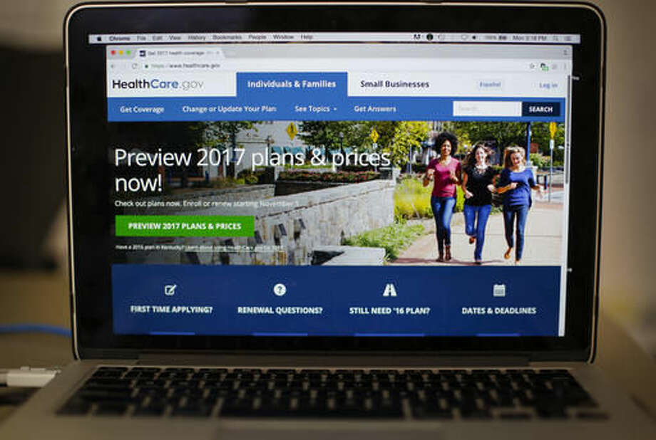 FILE - In this Oct. 24, 2016 file photo, the HealthCare.gov 2017 web site home page is seen on a laptop in Washington. The problem of Americans going without health insurance may be at historically low levels, but continued progress threatens to stall this year, according to a government report released Thursday, Nov. 3, 2016. The study from the Centers for Disease Control and Prevention suggests that President Barack Obama's legacy health care law may be reaching a limit to its effectiveness in a nation politically divided over the government's role in guaranteeing coverage. (AP Photo/Pablo Martinez Monsivais, File)