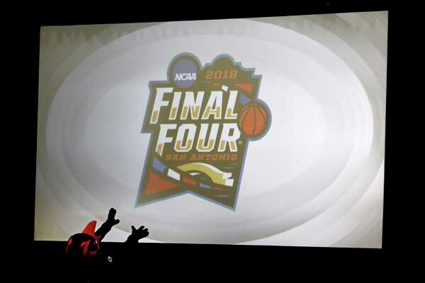 The 2018 NCAA Men's Final Four Logo is introduced at the Unveiling & Pep Rally Kick Off Road to San Antonio on Dec. 1, 2016, inside the gym at Mission Concepcion Sports Park.